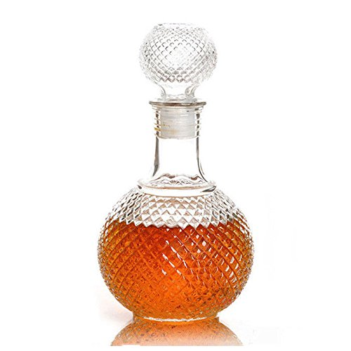 Bait Duck - Crystal Whiskey Wine Shot Glass Bottle With Cap Stopper Drinking Bar Decanter 500ml - Mouth 34oz Clear Wide Glass Stopper Bottle Wine Stoppers Glass Stopper Crystal Bottle Whiskey