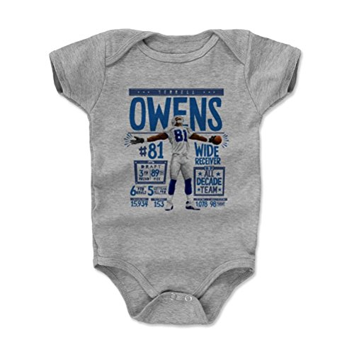 500 Levels Terrell Owens Baby Onesie 3 6 Months Heather Gray   Vintage Dallas Football Baby Clothes   Terrell Owens Stats B