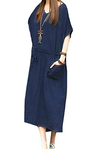 Linen Fashion Solid Pockets Blue Dress Plus Size Women Baggy Color Coolred Midi w8qgxIEF
