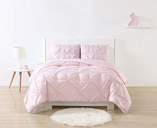 My World Printed Gingham Pinch Pleat Kids Comforter Set, Full/Queen, - Gingham Pink Comforter