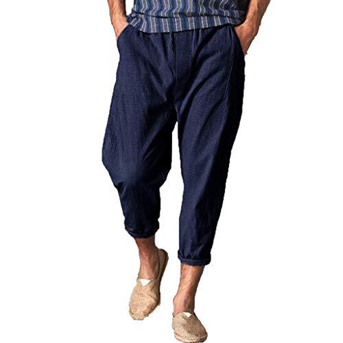 BingYELH Men Casual Beach Trousers Linen Jean Jacket Summer Pants Drawstring Pant with Back Elastic Waistband Jogger Pants Navy