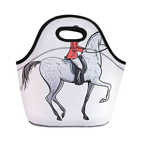 (Semtomn Neoprene Lunch Tote Bag Rider Man and Dapple Grey Horse on White Horseman Reusable Cooler Bags Insulated Thermal Picnic Handbag for Travel,School,Outdoors, Work)