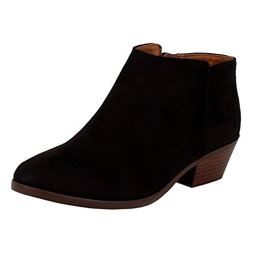 Soda FC67 Women's Western Inside Zipper Stacked Heel Ankle Booties, Color:BLACK SUEDE, Size:7.5 (Soda Black Suede Boots compare prices)