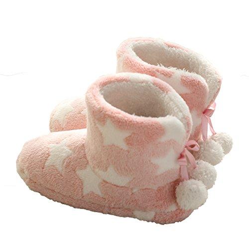 COIN Hausschuh Damen Plüsch Hüttenschuhe Stiefel mit Bommel und Rutschfester Sohle Warm Sternemotif Design 36-41, Dunkelblau/Rosa Rosa