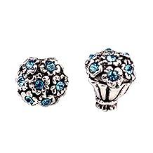 Bling Stars Jan-Dec Birthstone Charms Swarovski Elements Crystal Rose Flower Bead Fit Pandora Bracelet