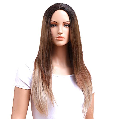 (GOTTA Premium Cosplay Straight Wigs for Women Long Ombre Synthetic Wig 3 Tone Black Brown and Blonde 22Inch Good Guarantee (22 inch 3)