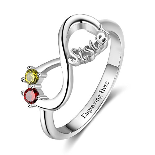 JewelOra Personalized Infinity Sister Ring with 2 Round Simulated Birthstones Best Friends Promise Rings for Her (6)