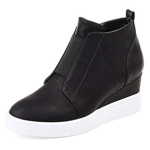 Ermonn Womens Wedge Sneakers Fashion High Top Side Zipper Platform Booties Flat Shoes Black