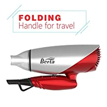 Berta 1875W Negative Ionic Folding Hair Dryer Dual Voltage Travel Blow Dryer US Plug 100-240V, Silver with Red
