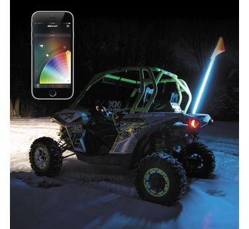 XKGLOW XK STA Advanced App Control LED Light Kit (1x Whip Xkchrome,for 4x4 Offroad UTV ATV Can-Am Polaris Razr Yamaha)