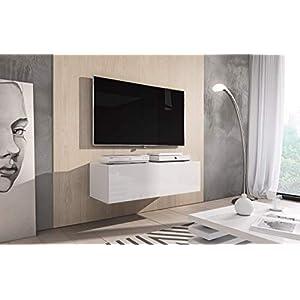 E-com Rocco Meuble de télévision Bas, 100cm, Blanc