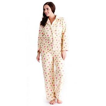 Ladies Womens Spot Print Soft Fleece Long Pyjama Sleepwear Nightwear Set   Amazon.co.uk  Clothing 4bc90fb90