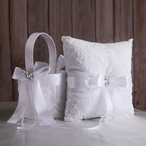 (TRUE LOVE GIFT Ring Bearer Pillow and Wedding Flower Girl Basket Set Pearl Rhinestones White Satin Lace Collection)
