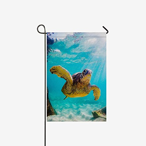 (INTERESTPRINT Decorative Flag Hawaiian Green Sea Turtle in The Sea Water Garden Flag House Banner for Wishing Party Wedding Yard Polyester Home Decor 12