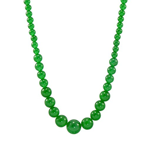 Paialco 6-14MM Round Green Chalcedony Beads Graduated Necklace (Green 12mm Round Bead)