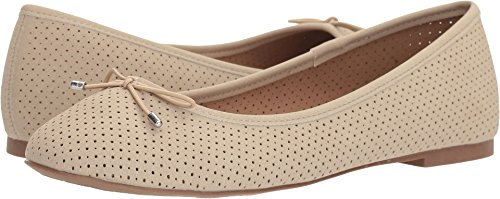Beige Ballet Flats (Esprit Women's Orly Closed Round Toe Perforated Bow Slip-on Ballet Flat,11 B(M) US,Beige)