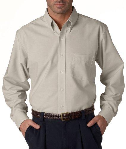 UltraClub® Men's Classic Wrinkle-Free Long-Sleeve Oxford - Tan - - Long Free Wrinkle Shirt Oxford Sleeve