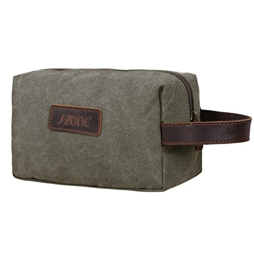 On Sale - S-ZONE Canvas Travel Toiletry Bag Shaving Dopp Kit Cosmetic Makeup Bag (Army Green)