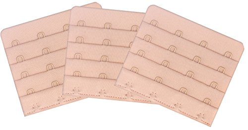 Womens Bra Extenders 4 Hook - Comfort Sturdy Bras Strap Extensions 4-Hook, Beige (Closure Four)