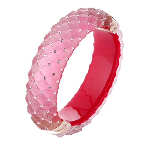 - Vir Jewels Pink Lucite Bangle with Pink Crystals
