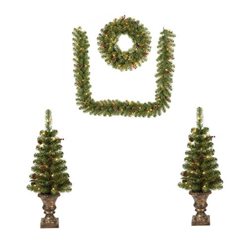 Artificial Christmas Pine Set. Two 3.5 Foot Potted Trees, One 24'' Wreath & 9ft Garland. This Fake Xmas Collection Densely, Lush Looks Natural. Outdor, Holiday Season Party Decor & Festive Mood. by Artificial-Christmas-Tree