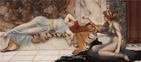 'Mischief And Repose,1895 By John William Godward' Oil Painting, 16x36