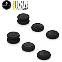 Skull & Co. Skin, CQC and FPS Thumb Grip Set Joystick Cap Analog Stick Cap for Nintendo Switch Pro Controller & PS4 / Slim / Pro Joy-con (Controller)- Black, 3Pairs(6pcs)
