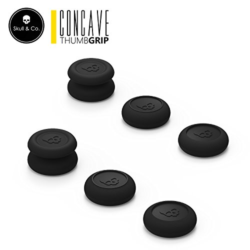 Skull & Co. Skin, CQC and FPS Thumb Grip Set Joystick Cap Analog Stick Cap for Nintendo Switch Pro Controller & PS4 / Slim / Pro Controller- Black, 3Pairs(6pcs) ()