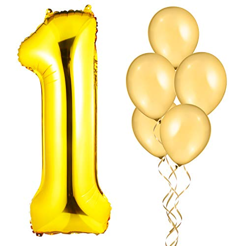 "Gold 40"" Mylar Foil Number ""1"" Balloon with 5 12"" Latex Gold Balloons/First Birthday Balloons/Anniversary Balloons/1st Place Balloons, Ribbon and Straw Included, Helium Supported"