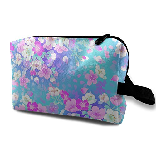 Watercolor Flower Cosmetic Bags Makeup Organizer Bag Pouch Zipper Purse Handbag Clutch Bag