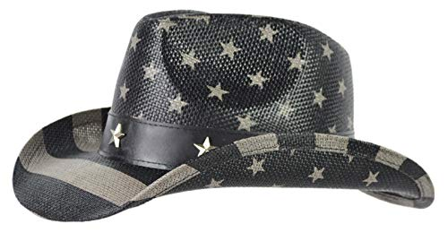Rising Phoenix Industries USA Straw Cowboy Hats for Kids with Design, American Cowgirl Dress Up Party Hat (Black & Grey) (Crochet Hat Pattern For 8 Year Old)