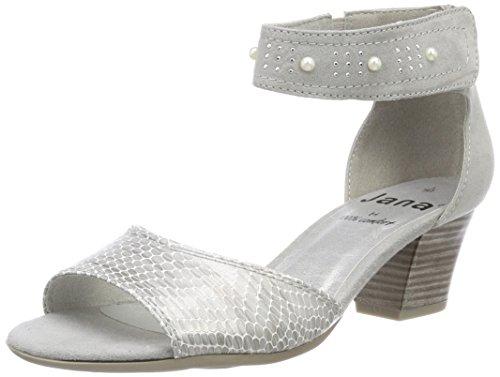 Jana Women's 28311 Ankle Strap Sandals Grey (Lt. Grey)