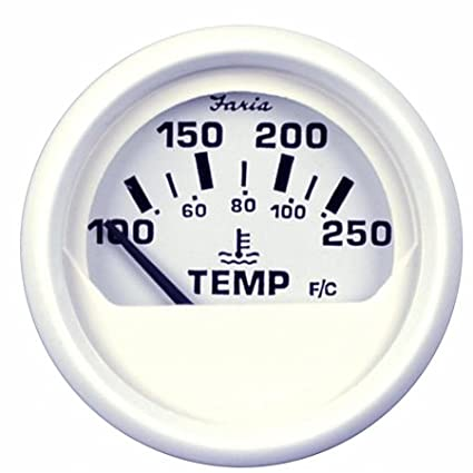 Faria Beede 13110 Dress White 2 in. Water Temperature Gauge -100-250° F Faria Beede Instruments