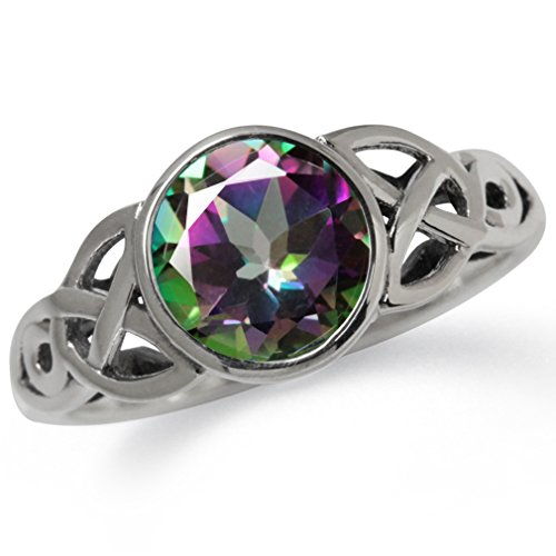 2.16ct. Mystic Fire Topaz 925 Sterling Silver Triquetra Celtic Knot Solitaire Ring Size 8.5