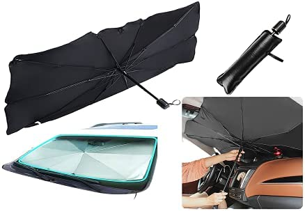 "Sedan SUV Car Sun Shade Car Windshield Sun Shade Umbrella UV Rays and Heat Sun Visor Protector Foldable Car Sun Umbrella Block Heat Reflector Umbrell Keep Car Cool Easy to Use/Store,57""x 31"""