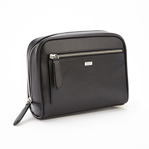 Royce Leather Toiletry Travel Grooming Wash Bag in Saffiano Leather, Black by Royce Leather