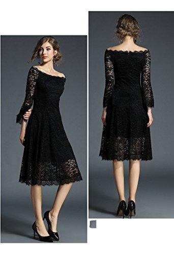 Mujer Vestido Fiesta Negro Vestido Un Encaje De De Mujer Vestido Un JIALELE Fiesta Y 6gqFax