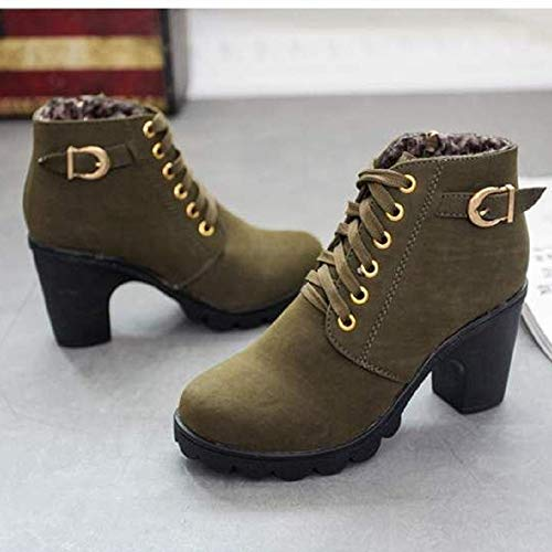 Invierno hasta Rojo Lined Verde Tobillo 35 Tacon Zapatos Fur Ejercito Otoño Hebilla Mujer Zapatillas 41 Verde Negro Cordones Botas Encaje Pelaje Casual el BIzwzZ