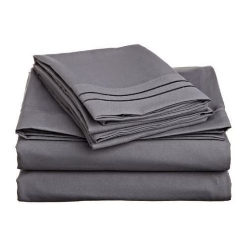 Discount Laxlinen 300 Thread Count 100% Egyptian Cotton Super Quality 1PC Flat Sheet(Top Sheet) King/ Standard Size, Elephant Grey/Dark Grey Solid
