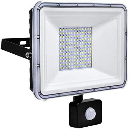 50W LED Floodlight with Motion Sensor Waterproof IP67 Outdoor Security Lights 4500LM 6500K Cold White Outdoor Sensor Light Wall Light for Garden Yard Garage Warehouse [Energy Class A++]