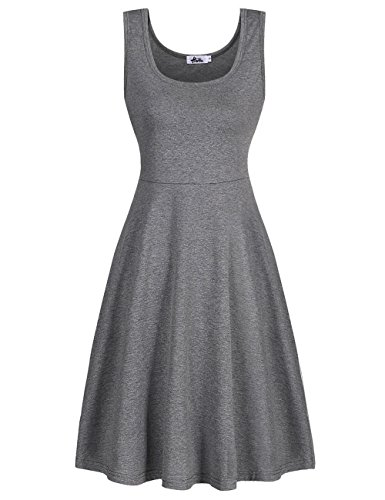 Herou Women Summer Beach Cotton Casual Sleeveless Flared Tank Dress (Large, Grey)