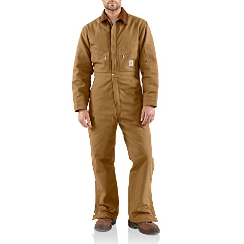 Carhartt Men's Big & Tall Quilt Lined Duck Coveralls,Brown,38 Tall