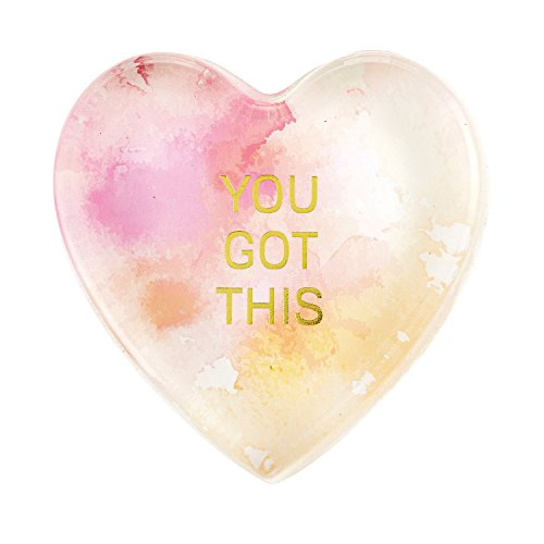 - CB Gift Heartfelt Heart-Shaped Glass Watercolor Paperweight, You You Got This