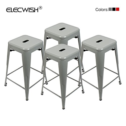 Elecwish High Backless Stacking Industrial Metal Indoor/Outdoor Modern Barstool With Square Seat, Grey, 4 Piece