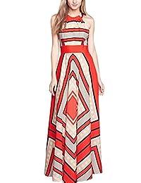 Vestido largo estampado asimétrico, vestido de verano para las mujeres, vestido elegante, vestido ocasional del oscilación