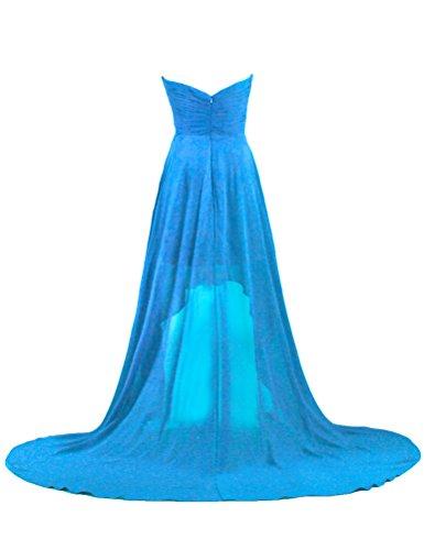 Court À L'avant De Fourmis Femmes Longue Robe De Bal Du Soir En Mousseline De Soie Dos Bleu