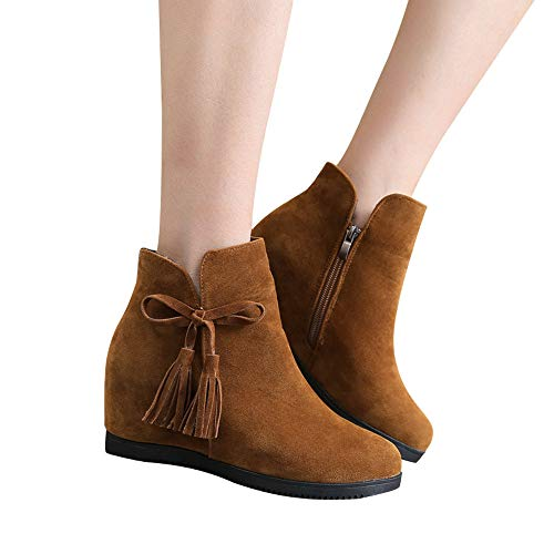 Hardy Wedge Boot - DongDong Seasonal Offers❣Fashion Ladies Tassel Ankle Booties- Bow Suede Zipper Round Toe Wedges Casual Shoes Walk Boots