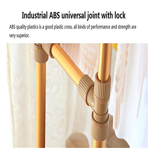 Balcony Drying Rack Indoor Aluminum Lifting L Cool Hanger Floor Folding Thick Double Pole Clothes Pole,Gold by YIN QM (Image #3)