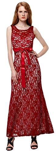 U-shot Vestidos Para Mujer Floral de Encaje Elegante Noche Vestido Largo Rojo Oscuro