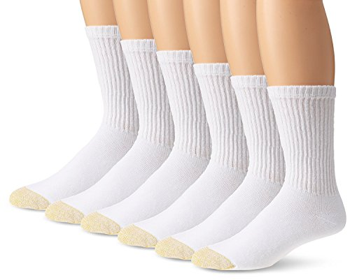Gold Toe Men's Cotton Crew Athletic Sock 6-Pack (3 PK (18 PAIR) 10-13, White) by Gold Toe